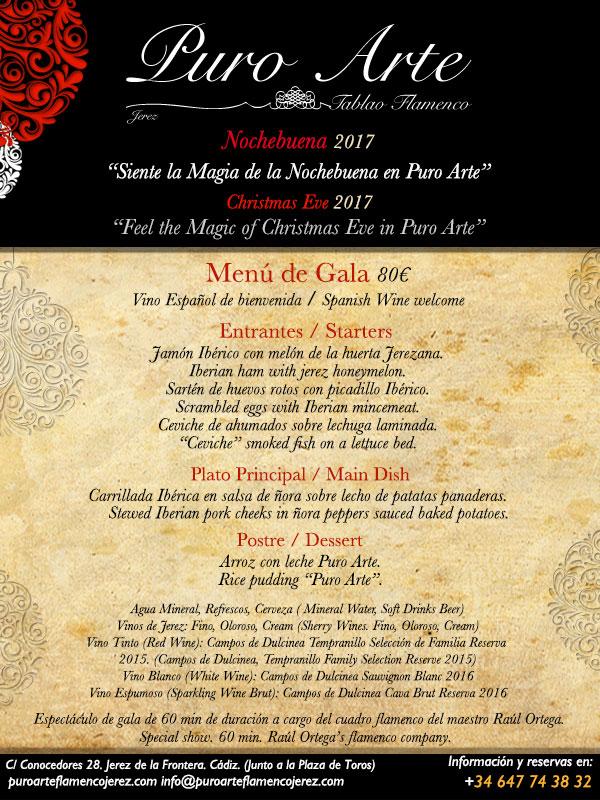 Menú de Nochebuena en el tablao flamenco Puro Arte, en Jerez
